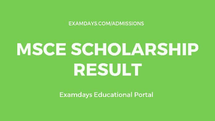 MSCE Scholarship Result