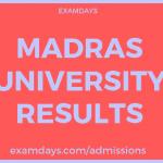 madras university results