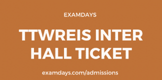 tswreis inter hall ticket