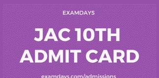 jac 10th admit card