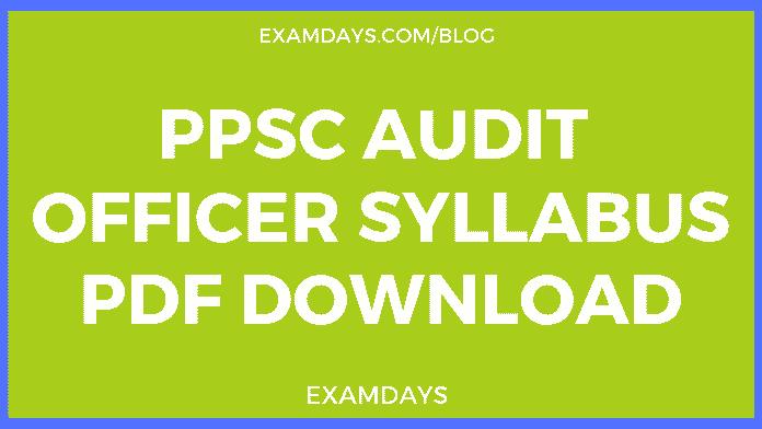 ppsc audit officer syllabus