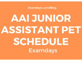 AAI Junior Assistant PET Schedule