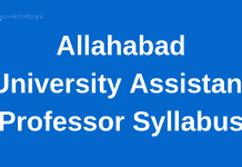 Allahabad University Assistant Professor Syllabus