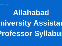 Allahabad University Assistant Professor Syllabus