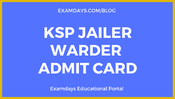 ksp jailor warder admit card