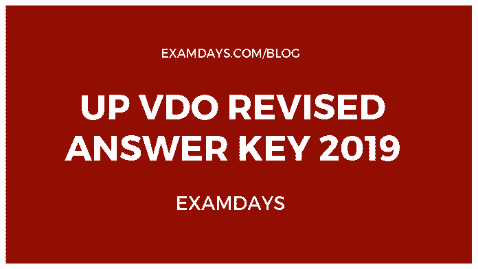 UP VDO Revised Answer Key 2019 Download UPSSSC Answer sheet 2018