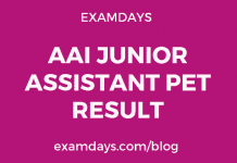 AAI Junior Assistant PET Result