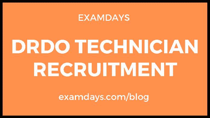 drdo technician recruitment