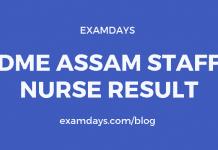DME Assam Staff Nurse Result