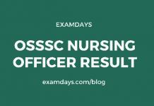 OSSSC Nursing Officer Result