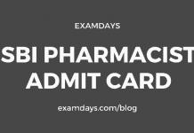 sbi pharmacist admit card