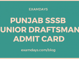 psssb junior draftsman admit card