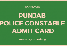 punjab police constable admit card