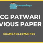 CG Vypam Patwari Previous Year Question Paper