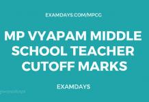 MP Vyapam Middle School Teacher Cutoff Marks