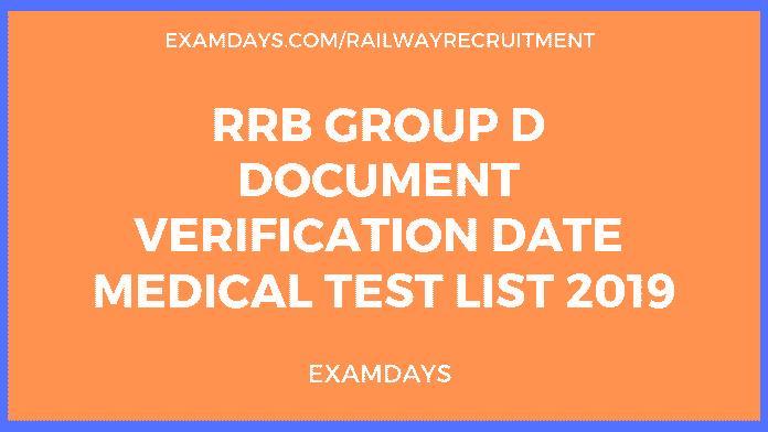 rrb group d document verification date