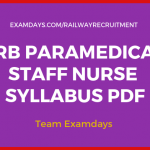 rrb staff nurse syllabus pdf