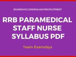 rrb staff nurse syllabus pdf