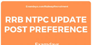RRB NTPC Update Post Preference
