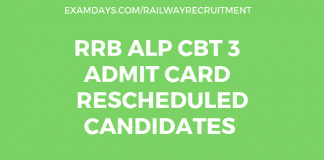 RRB ALP CBT 3 Admit card 2019 for Rescheduled Candidates