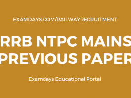 rrb ntpc mains previous papers