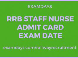 rrb staff nurse admit card