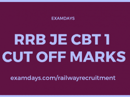 rrb je cbt 1 cut off marks