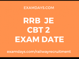 rrb je cbt 2 exam date