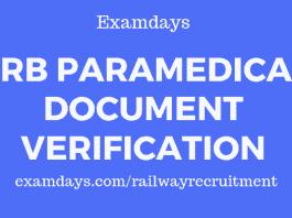 rrb paramedical document verification