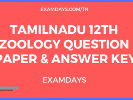 12th zoology question paper answer key