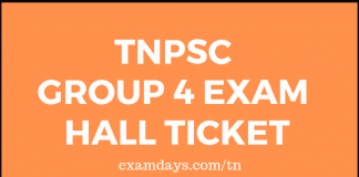 TNPSC Group 4 Exam Hall Ticket