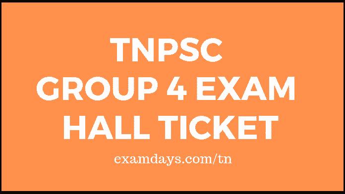 TNPSC Group 4 Exam Hall Ticket