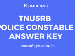 tnusrb police constable answer key