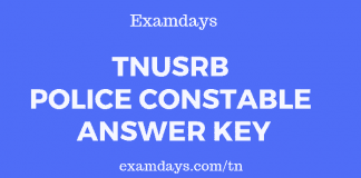 tnusrb police constable answer key