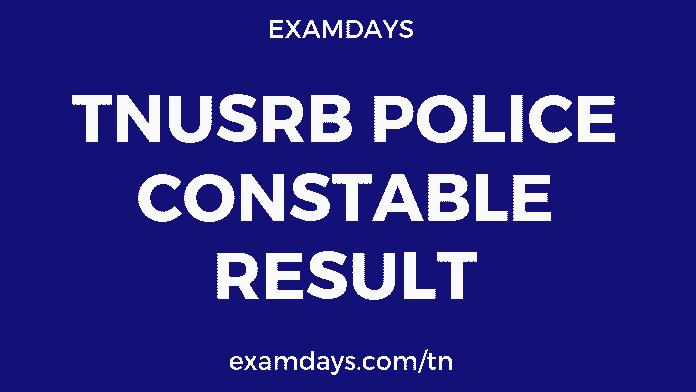 tnusrb police constable result