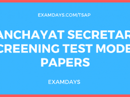 Panchayat Secretary Screening Test Model Papers