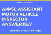 APPSC Assistant Motor Vehicle Inspector Answer Key