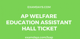 ap welfare education assistant hall ticket