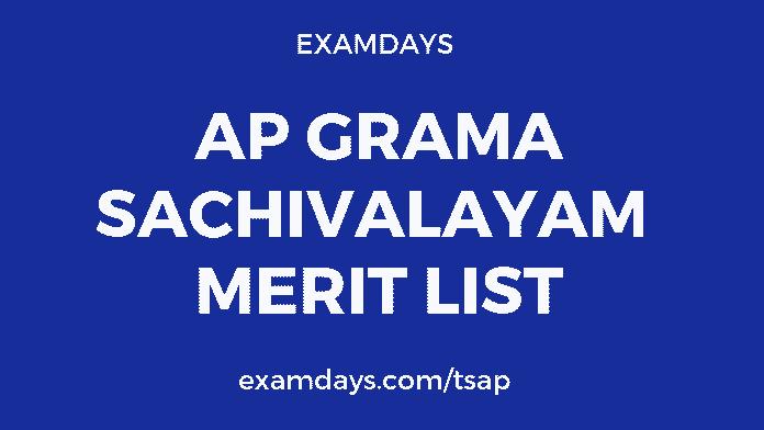 Ap grama sachivalayam merit list 2019