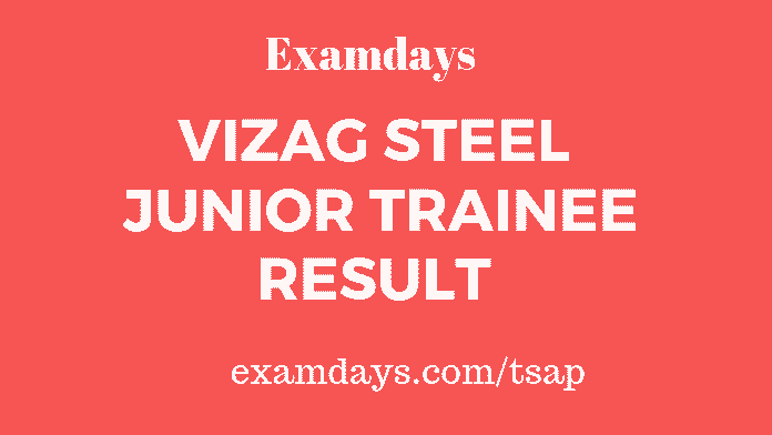 vizag steel junior trainee result